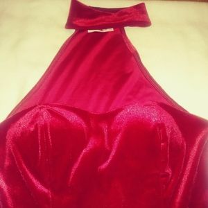 Halter dress, Vivace brand, red suede